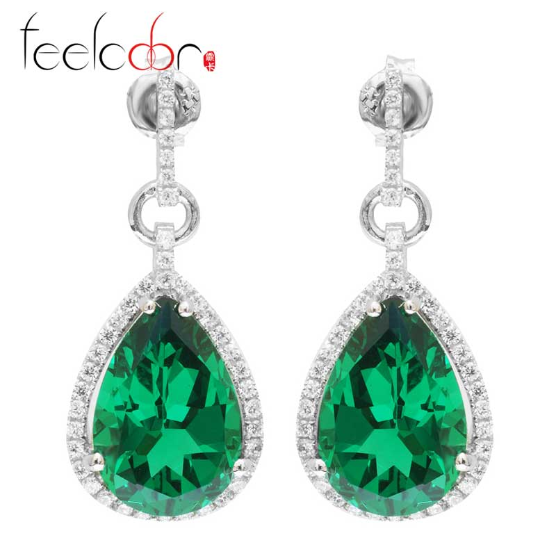 Nano Russian Emerald Drop Earrings Real Pure 925 Solid Sterling Silver Fabulous Vintage Charm Jewelry For Women 2015 Brand New<br><br>Aliexpress