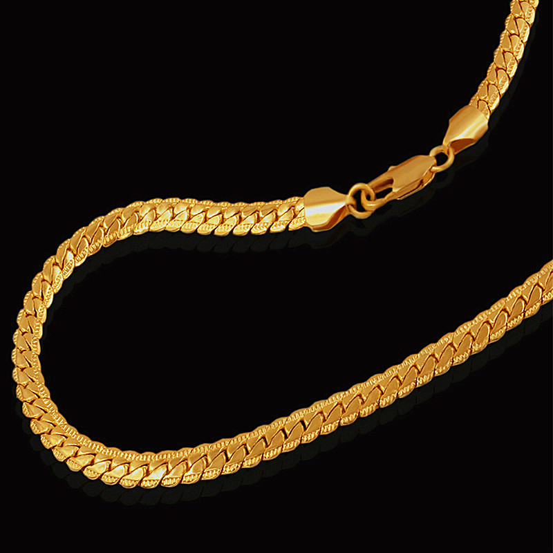 Brand 18K Real Gold Plated Choker Snake Chain Vintage Necklace Unisex Men Fashion Jewelry Gift Wholesale Necklace Imported China(China (Mainland))
