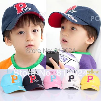 1 пк младенцы весна мальчики-младенцы девочки хлопок спорт шляпа, Надписи P дети бейсбол кепка корейский стиль дети солнца шляпа