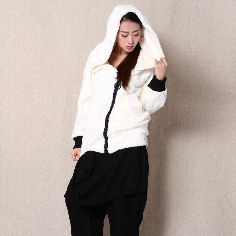 Women New Fashion Cashmere Coat Original Literary Cardigan Long Sleeve Hooded Zipper Warm Loose Faux Fur Coats 2015 Winter(China (Mainland))