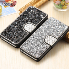 KISSCASE i5 SE 6s Coque Luxury Bling Rhinestone Flip Stand Wallet Silk Leather Case For iPhone5 5S SE 6 6S Plus Magnetic Case(China (Mainland))