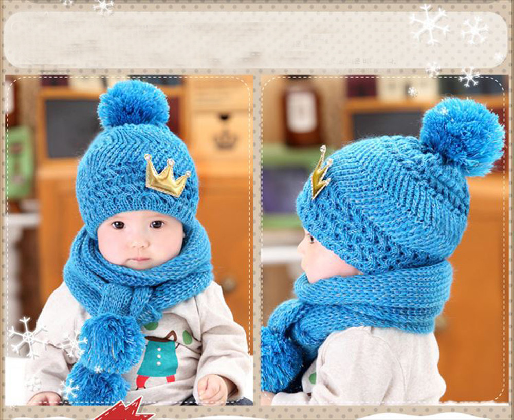 2016 New High Quality Coif Hood Scarf Caps Winter Baby Hats Girls Boys Warm Woolen Crown Kids Scarf Caps Free Shipping #YL10