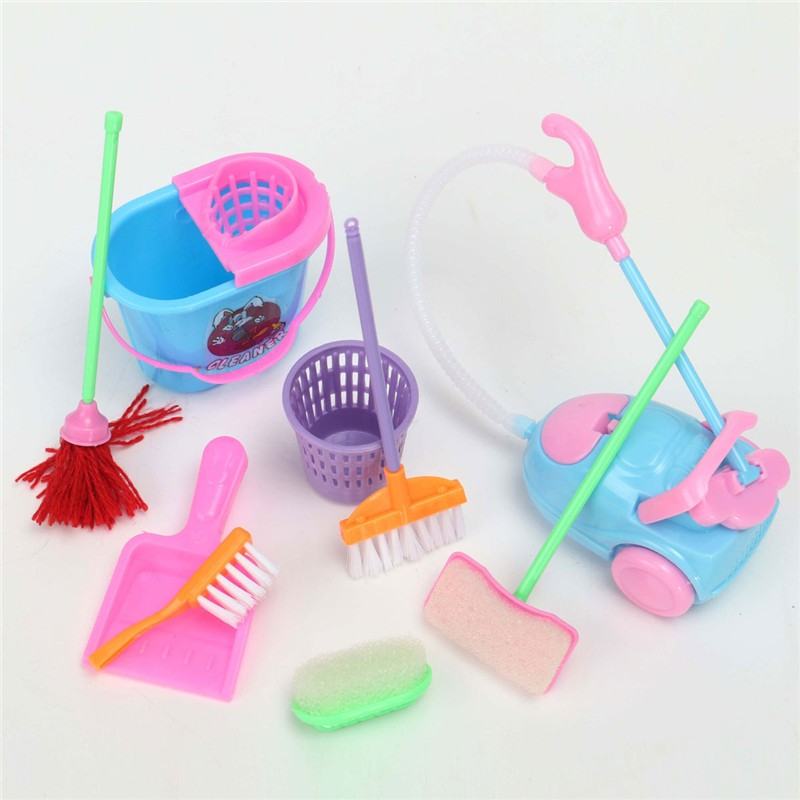 Girl House Dolls Furniture Cleaning Kit Set Home Furnishing Funny Vacuum Cleaner Mop Broom Tools 9Pcs/set(China (Mainland))