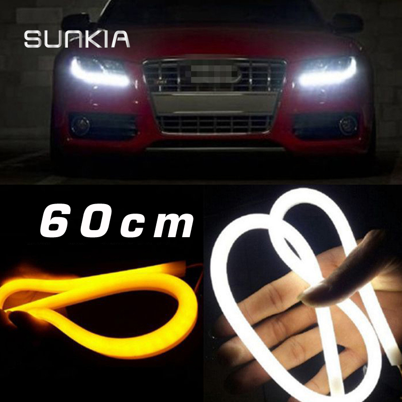 60CM Flexible LED Daytime Running Light DRL Strip Amber Light Bar Light Switchback DRL Free Shipping(China (Mainland))