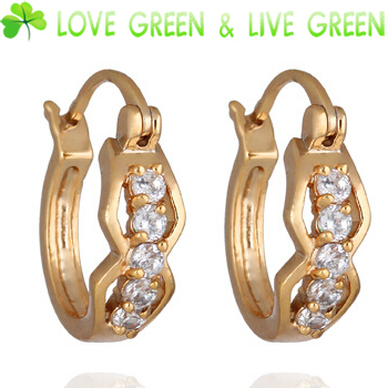 earrings Jewelry 2014 UK Queen Kate design brand women girl baby 18k gold Plate cupper import zircon fashion crystal hoop 9012(China (Mainland))