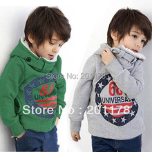 195# free shipping 2 color thicken 68 letter printed children hooded clothing(China (Mainland))