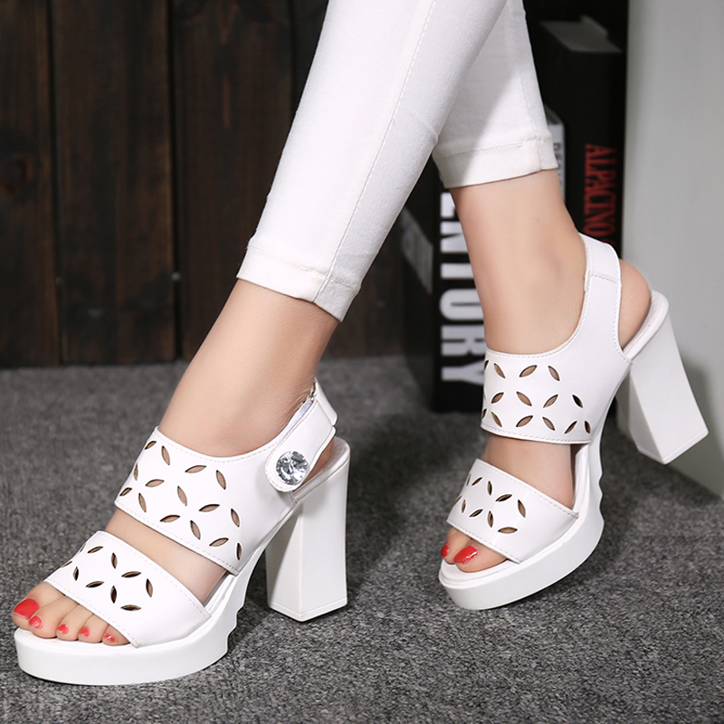 Sandalias Mujer Cut Outs Platform Thick Heels Womans Sandals White Black Gladiator Sandals Women High Heels Casual Shoes WW716(China (Mainland))