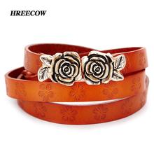 Buy Fashion Genuine leather Thin belt woman Rose Buckle Cow skin belts women Top strap female hook belt Dress accessories for $9.51 in AliExpress store