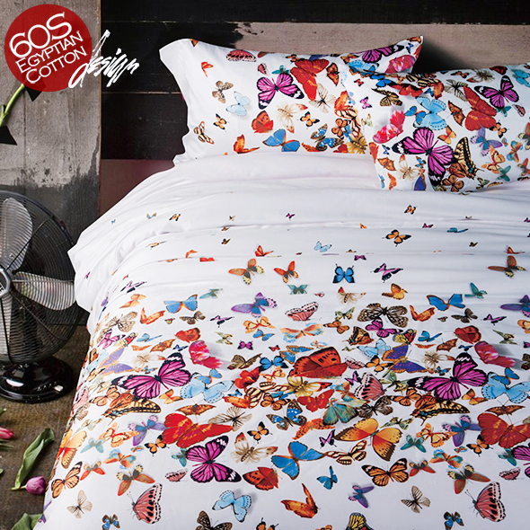 2016 Export 100% Egyptian Cotton Quality High-end Western Stye 4 pcs Bedding Sets Butterfly air balloon duvet cover bedsheet(China (Mainland))