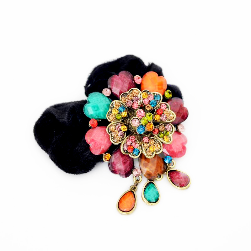 Hot Sale colorful flower water drop Elastic Hair Bands Fashion crystal headbands For Hair Jewelry For woman Gift XF296(China (Mainland))