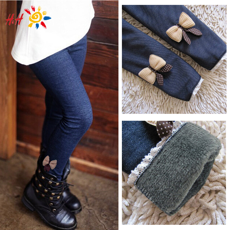 2015 Fashion New Winter Casual Girls Bow Jeans Cotton Children Skinny Cashmere Pants Kids Clothes Warm