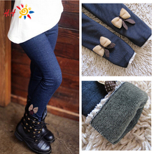 2015 Fashion New Winter Casual Girls Bow Jeans Cotton Children Skinny Cashmere Pants Kids Clothes Warm Elastic Waist Legging