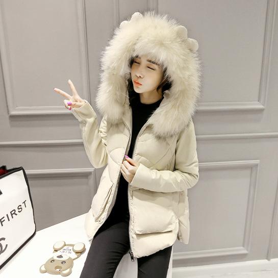 2015 winter new Slim thick padded Korean version of sweet ladies fur collar down jacket women short paragraph cotton jacket