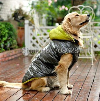 High Quality Windproof Big Dog Clothes Hoodie Jacket Golden Retriever Winter Warm Vest Coat Large Dog Clothing(China (Mainland))