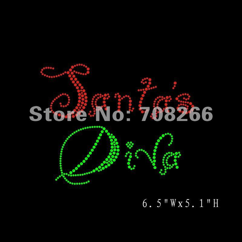free shipping(DHL),35pcs/lot,hot fix motif Christmas design Santa's Diva,custom design is welcome(China (Mainland))