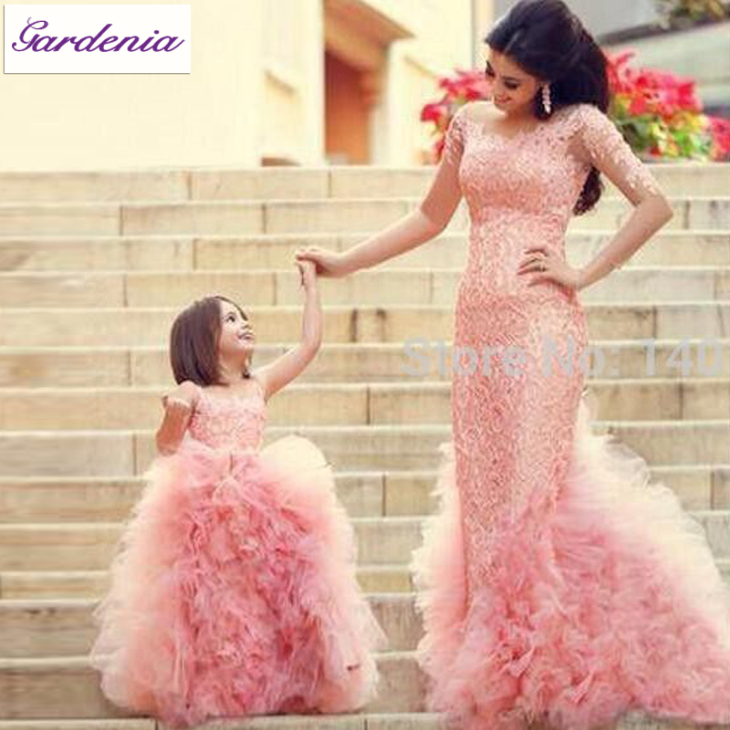 Lovely mom and daughter matching outfits real photo baby for Mother daughter dresses for weddings