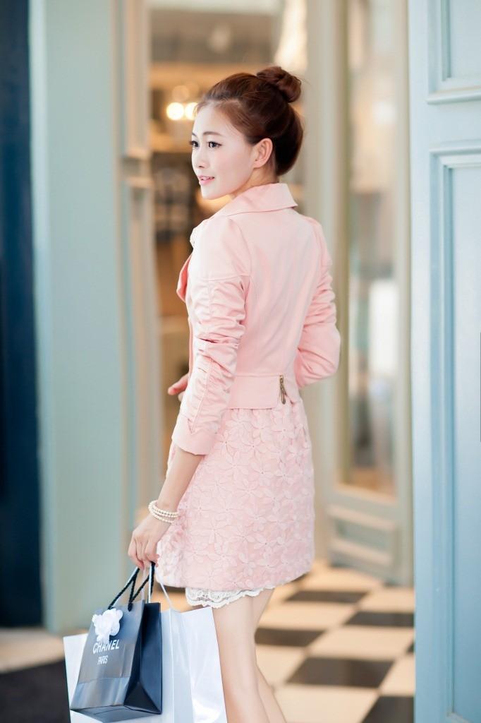 women jacket  Stylish new autumn coat Korean Slim lace long section of women's windbreaker free shipping