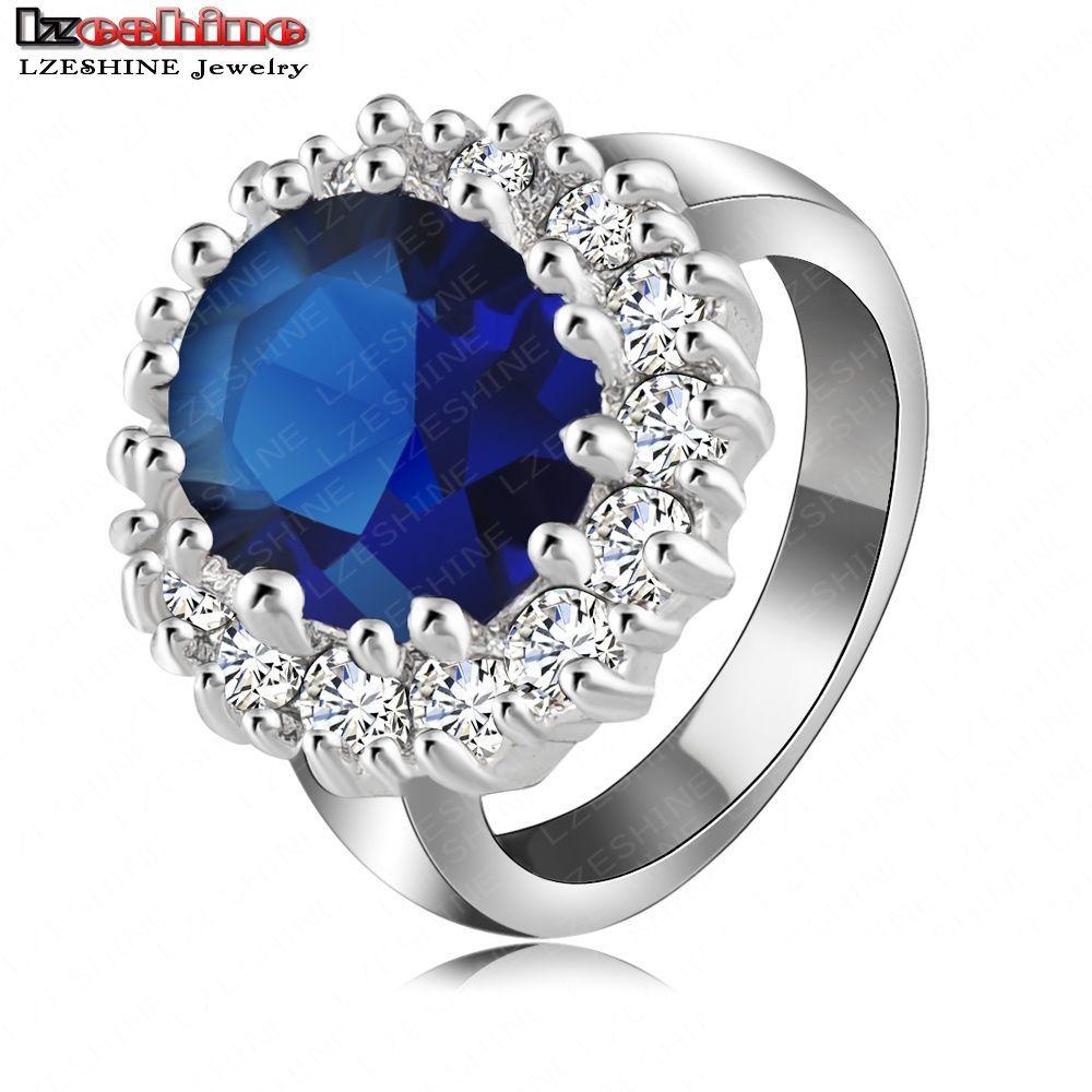 British Kate Princess Diana William Engagement Ring Platinum Plate AAA Blue Zircon Jewelry Rings anillos de compromiso Ri-HQ0016(China (Mainland))