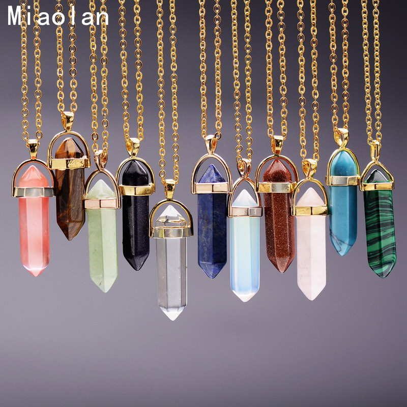 Women Amethyst Natural Stone Pendant Necklace Pink Crystal Necklaces Druzy Gem Stone Statement Pendants In Jewelry