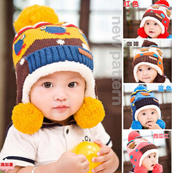 Lovely knitted earmuffs Baby Hats And Caps Kids Boy Girl Crochet Beanie wool Hats Winter Cap For Children To Keep Warm(China (Mainland))