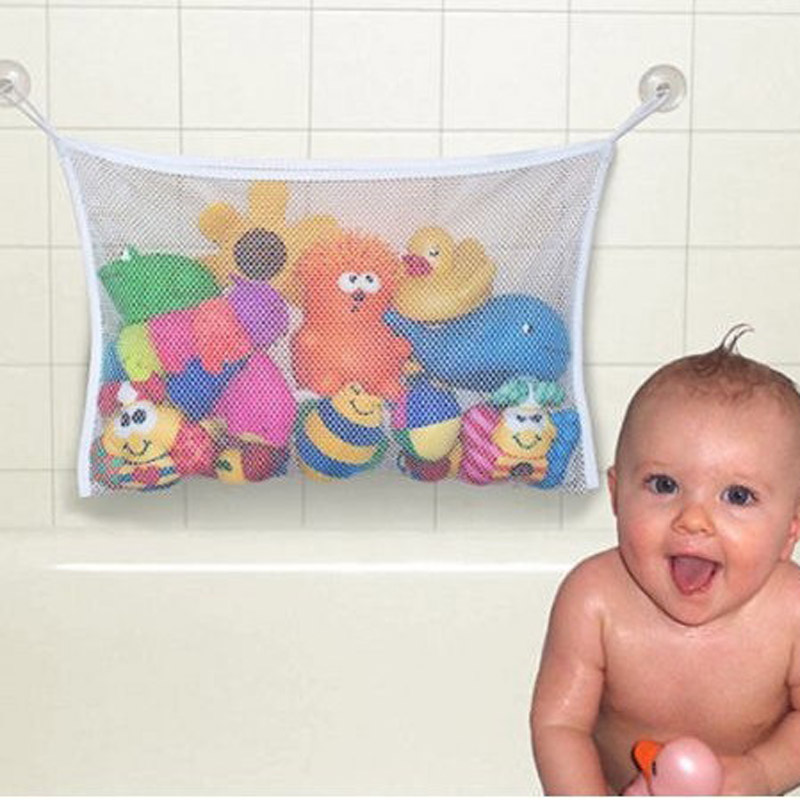 1pc/lot Kids Baby Bath Time Toys Suction Storage Bag Folding Hanging Type Mesh Net Bathroom Shower Toy Organization Bag ZQ675803(China (Mainland))