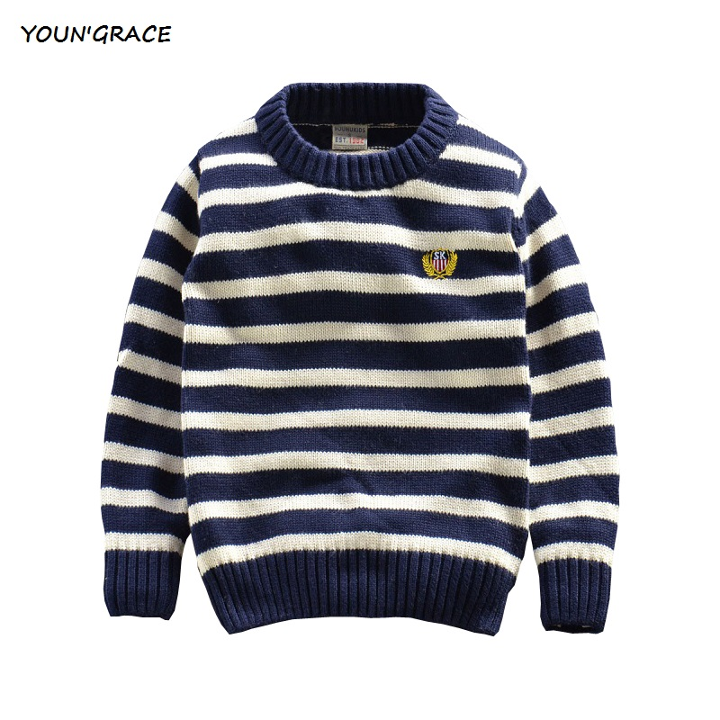 2015 New Arrival Gentle Boys Autumn Winter Navy Stried Warm Sweater Brand Baby Boys Long Sleeve Cotton Knitted Sweaters, YC181(China (Mainland))