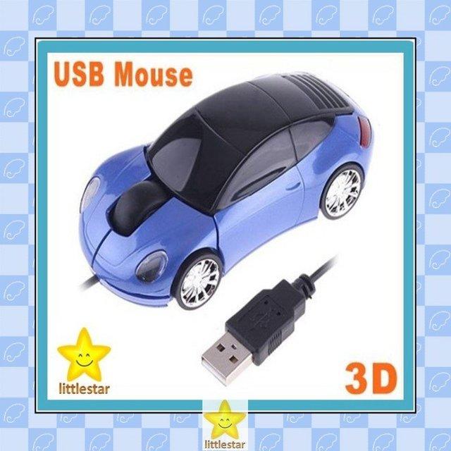 Blue Car Shape USB 3D Optical Mouse for PC / Laptop, 7pcs/lot Free Shipping dropshipping