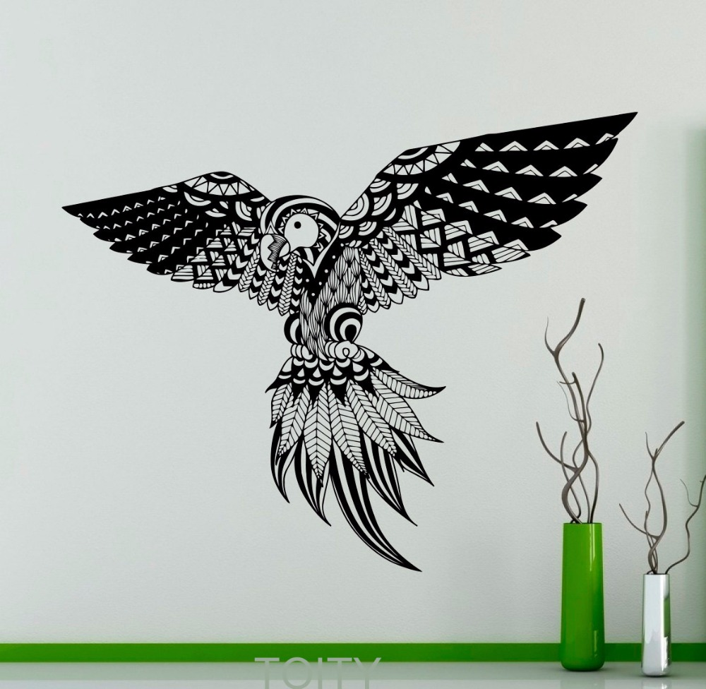 Penas de aves Exóticas Papagaios Adesivo de Vinil Decalque Da Parede Interior Home Criativo Animal Art Decor Removível Mural(China (Mainland))
