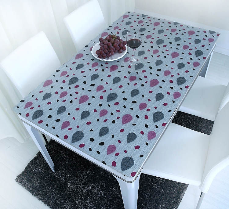 PVC crystal plate glass cloth color soft waterproof hot printing table mats opaque plastic table cloth(China (Mainland))