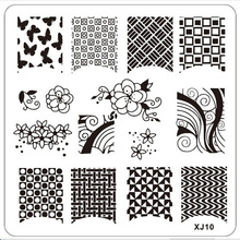 Wholesaler Square Charming Flower Pattern Nail Art Stamp Stamping Image Plate Manicure Stencil Nails Moo Left French Nails XJ10