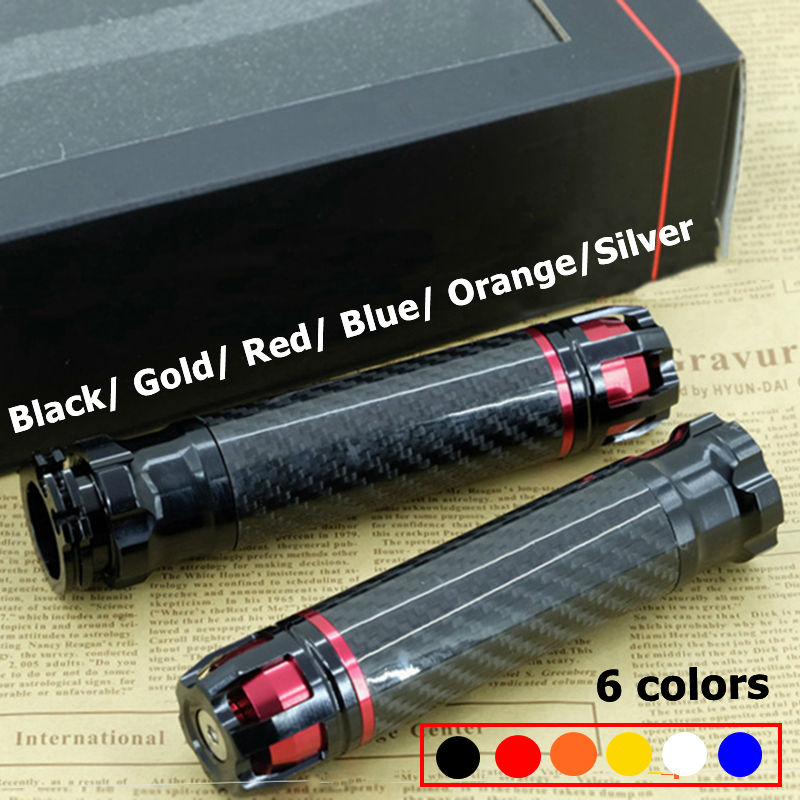 """2016 New 5 Color Black 7/8"""" 22mm Carbon Fiber Universal Motorcycle Handlebar Hand Grips With Bar Ends(China (Mainland))"""