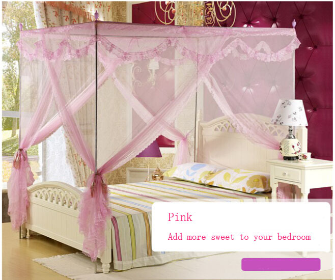 4 Post Bed Canopy Four Corner Point Insect Mosquito Net