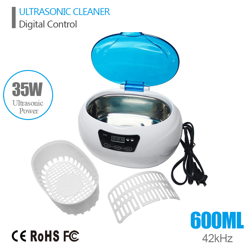 Digital Ultrasonic Bath Cleaning Machine Jewelry Watches Dental PCB 0.6L 35W 42kHz Ultrasound Cleaner Mini Ultrasonic Cleaner(China (Mainland))