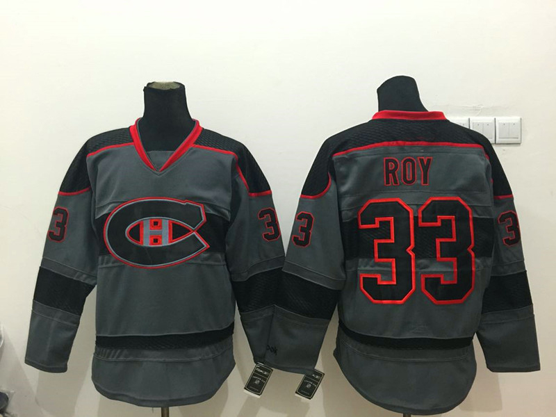 Cheap Montreal Canadiens Vintage Hockey Jerseys #33 Patrick Roy Jersey Throwback CCM Home Black Stitched