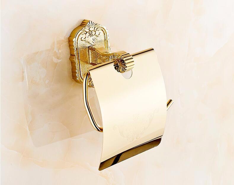 Купить Белый/Золото Полированная/Античная Бронза Латунь, Держатели Туалетной Бумаги Настенный Аксессуары Для Ванной Комнаты Металлоконструкции Бумаги Стойку