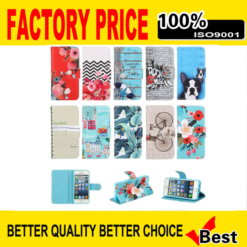 Hot Selling Fashion dog flower Chinese retro pattern Stand Flip Cover Case for iPhone 6 6S/ 6 6S Plus Phone Bag with Card Slots(China (Mainland))