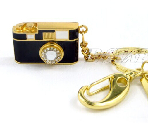 New Crystal Jewelry Diamond Camera Gold Drive With Chain 4GB 8GB 16GB 32GB USB 2.0 Metal Memory Stick Flash Pen Drive USB415(China (Mainland))