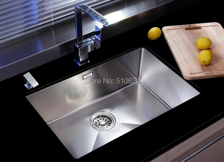 L306-5843 Hand-craft Luxury  kitchen SINK stainless steel SUS 304 small single bowl 580x430<br>