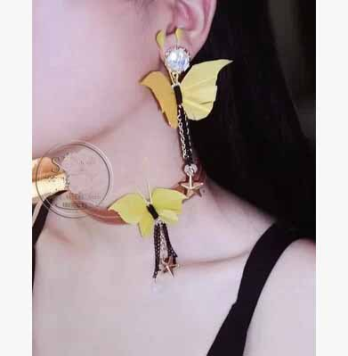 South Korea order super socialite stereo feather crafts Pearl color simulation butterfly earrings stud - huimin lai's store