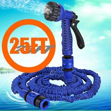 New Stretched 7.5M watering 25FT Blue Magic Expandable retractable Garden Supplies Water flexible hose with 7 in 1 Spray Gun(China (Mainland))
