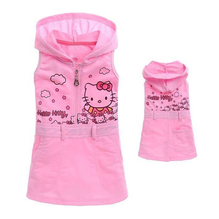 5Pcs/Lot Baby & Kids Summer Dress Girl Hello Kitty Sleeveless Dress Girls Casual Pink Dress 5C(China (Mainland))