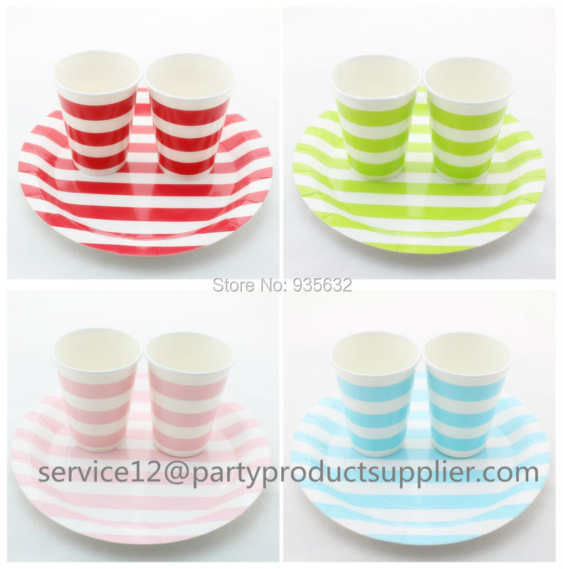 120pcs(10bags)/lot Colorful party Paper Tableware Sets Striped Paper Plates Disposable Cups for Kids' Party Wedding supplies(China (Mainland))