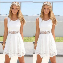 Women Dress 2016 New O-neck Lace Knee-Length Casual Party Summer White Dress for Lady Fashion Vintage Vestidos Free Shipping