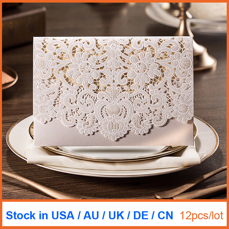 12pcs/lot Laser Cut Wedding Invitations Card with Embossed Flowers Wedding Cards with Envelope & Seal Stock In US AU CW073(China (Mainland))