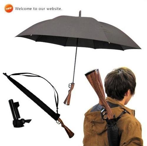 Rifle wooden handle,gun umbrella,100%sunscreen,UPF>40+,parasol,straight ,windproof,3.5mm fiberglass long ribs(China (Mainland))