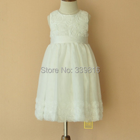 Baby Girl White Lace Princess Christening TUTU Tulle Dress for Wedding/Party/Bridesmaid Formal Prom Dress, 1st Brithday Outfits(China (Mainland))