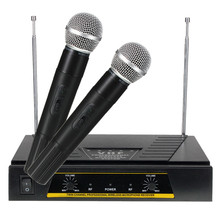 Professional Top Selling 220V Pro 2x Channels VHF Handheld KTV Wireless Microphone + Mic Receiver System Top Quality