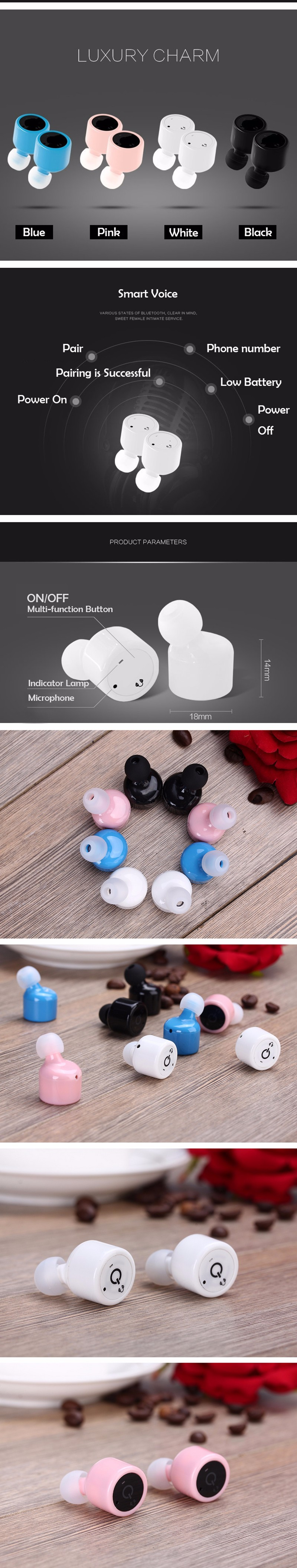 Ubit X1T Twins True Wireless Bluetooth Earphone Smart Mini Double In-Ear Stereo Music Earphones Earbuds With MIC Voice Prompt