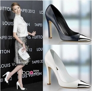 Hottest Designer Shoes Women Metal Pointed Toe Black White Pumps High Heels Prom Shoes Zapatos Mujer Shoes Woman(China (Mainland))