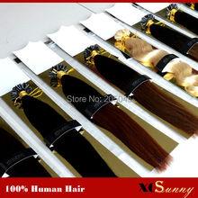 "XCSUNNY Keratin Nail Tip U Tip Hair Extensions 18"" 20"" Malaysian Human Hair 100g 1g/s U Tip Keratin Fusion Human Hair Extension(China (Mainland))"
